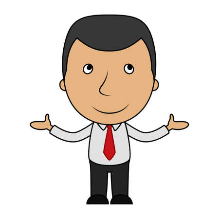 Smiling cartoon businessman opens his arms