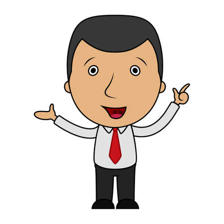 Cartoon businessman pointing his finger up