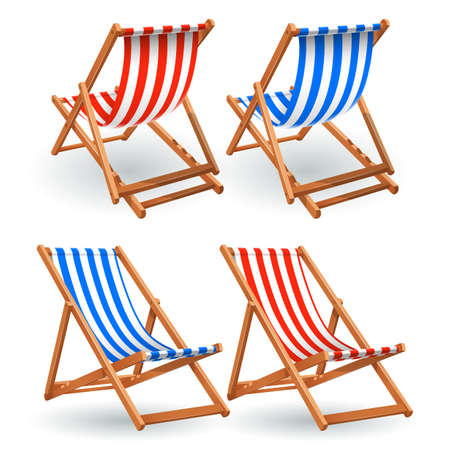Wooden beach chair set isolated on a white background Standard-Bild - 102628156