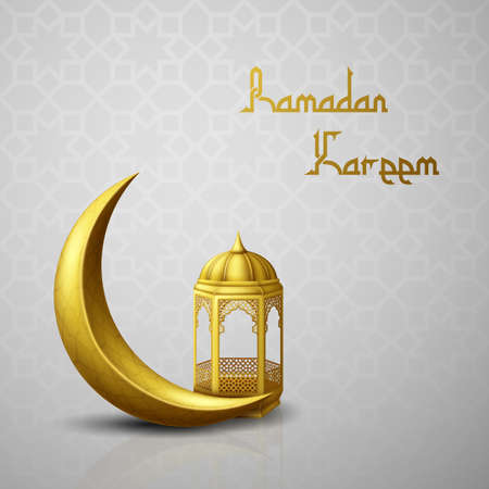 Ramadan Kareem greeting background with crescent moon and arabic lantern