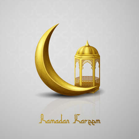 Ramadan Kareem greeting background with crescent moon and arabic lantern