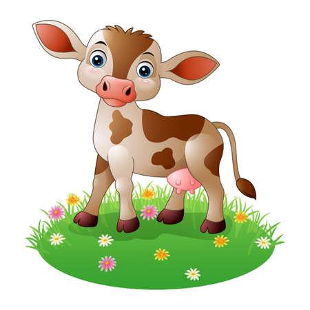 Cartoon cow standing on grass
