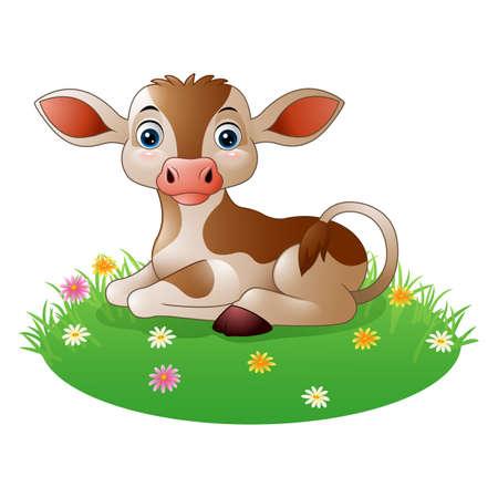 Cartoon cow sitting on grass