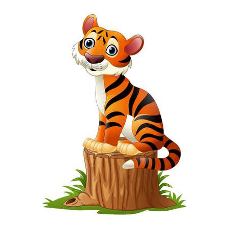 Tigre de dibujos animados sentado en tocón de árbol