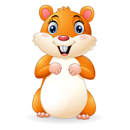 Cartoon smiling hamster Stock Photo