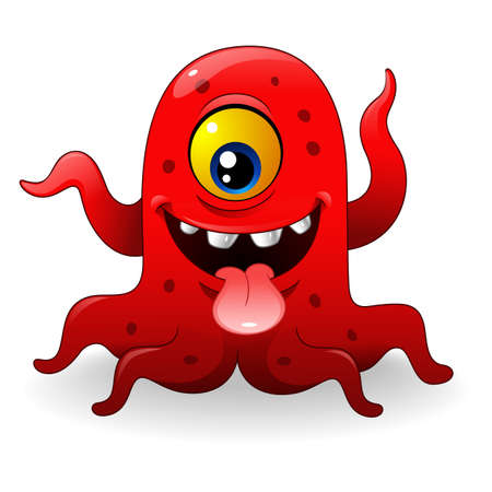 Cartoon funny red monster Stock Photo