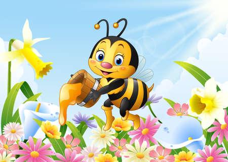 Cartoon bee holding honey bucket with flower background