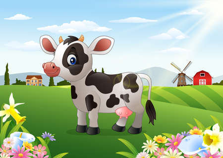 Cartoon cow in rural landscape with blooming flowers Stock Photo