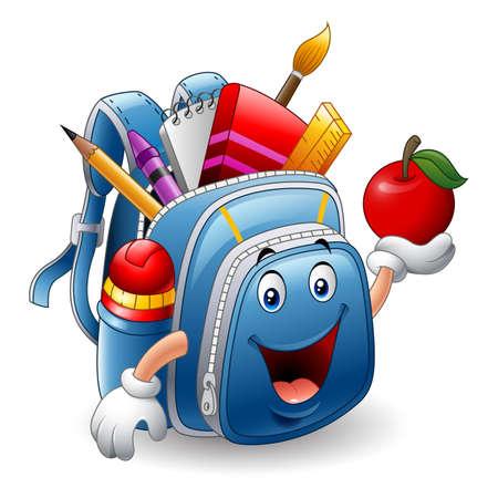 Cartoon school bag holding red apple Imagens