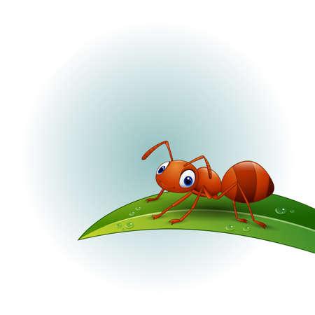 Cartoon ant on the leaf