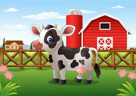 Cartoon cow in the farm Stock Photo