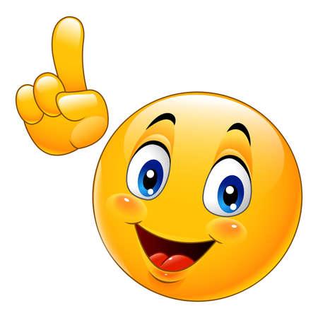 Emoticon sonriente de dibujos animados haciendo un punto