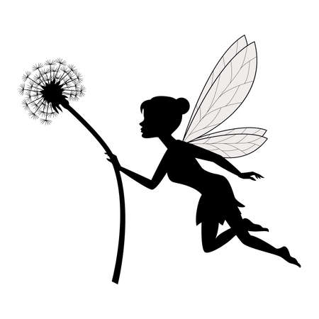 Fairy holding dandelion Stock Photo
