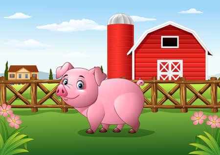 Cartoon pig in the farm background Stock Photo