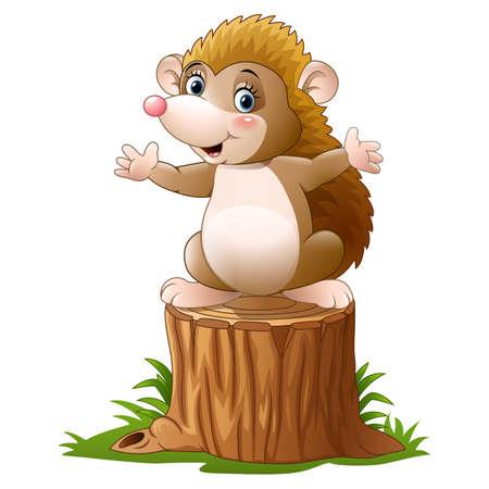 Cute hedgehog cartoon on the tree log