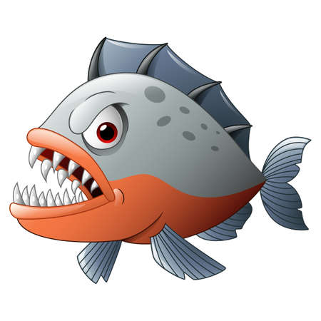 Angry piranha cartoon