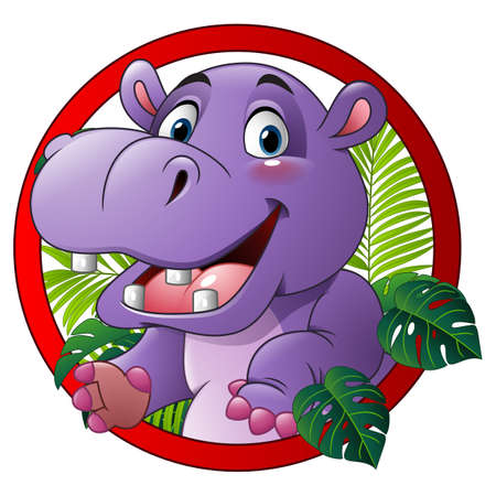 Cartoon funny hippo mascot Stock Photo
