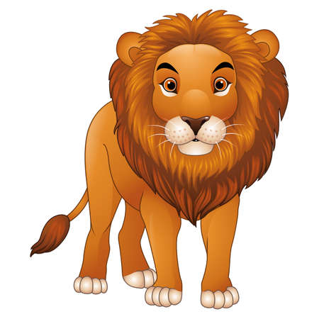 Cartoon lion mascot isolated on white background