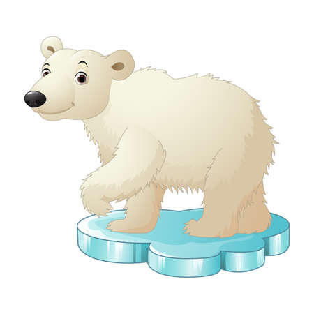 Cartoon polar bear sitting on floe Stock Photo