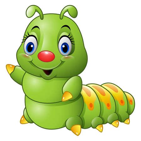 Cartoon green caterpillar Stock Photo