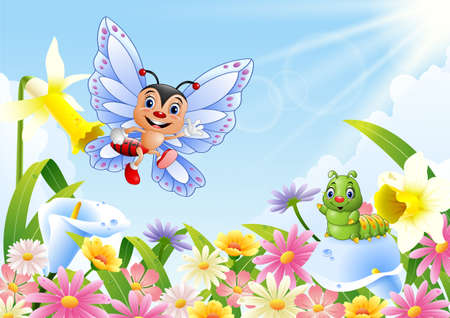Cartoon insects on flower field Stock Photo