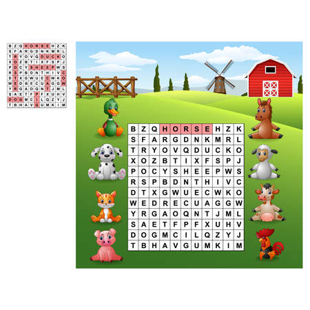 Word search puzzle about farm animals Фото со стока