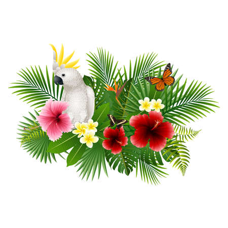 Cartoon white parrot and butterfly with flowers and leaves background