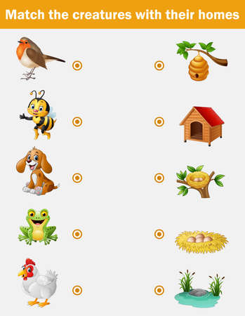 Matching game for children, animals with their homes Banco de Imagens