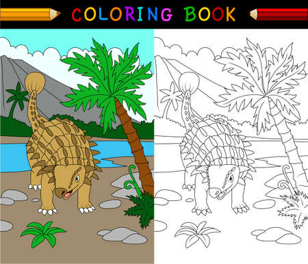 Cartoon ankylosaurs coloring page