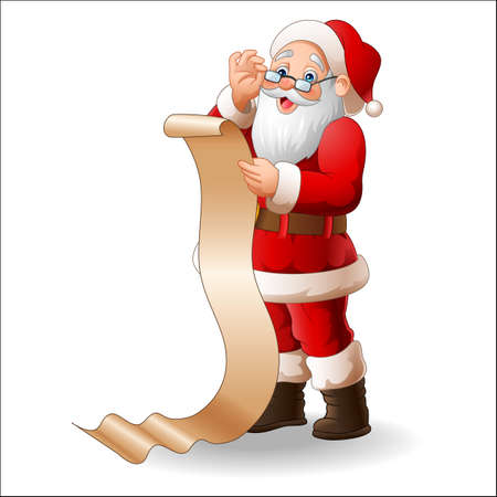 Santa Claus reading a long list of gifts Stock Photo
