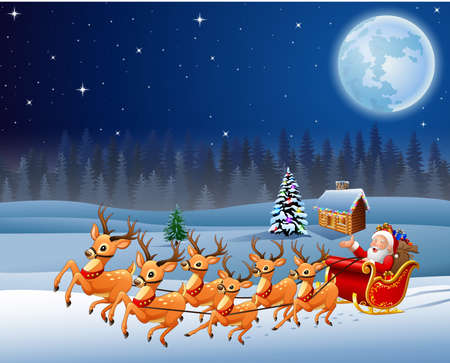 Santa Claus rides reindeer sleigh in Christmas night Stock Photo