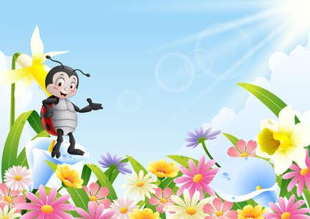 Cartoon ladybug in the flower field