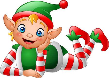 Elfo de dibujos animados tirado en el suelo