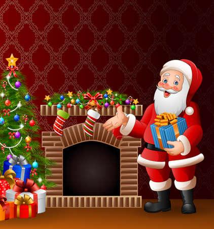 Cartoon Santa Claus holding a gift box