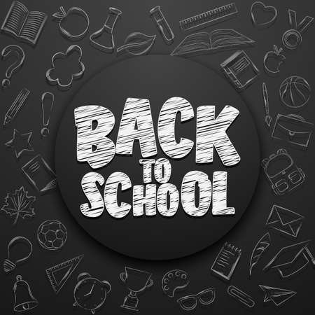 Back to school lettering in doodle circle on chalkboard background Stock Photo