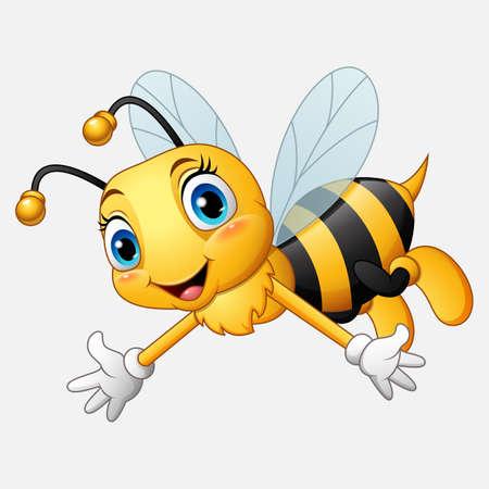 Karikatur glückliche Biene, die Hand winkt