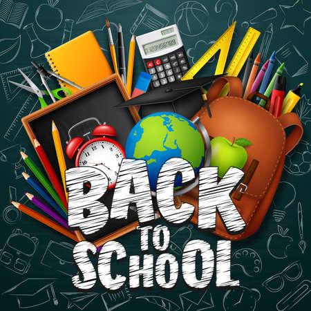 Torna a scuola sfondo con cancelleria e materiale scolastico Vettoriali
