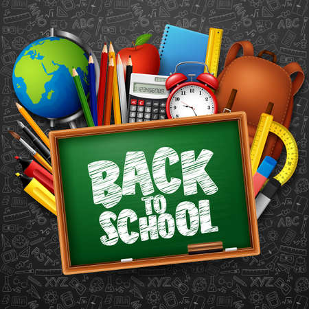 Vector illustration of Back to school background with stationery and school supplies Stok Fotoğraf - 105587651
