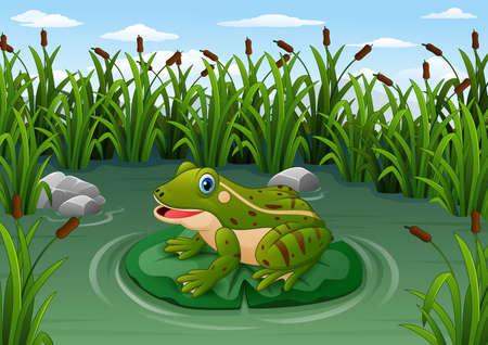 Illustrazione vettoriale di rana del fumetto su una foglia nello stagno