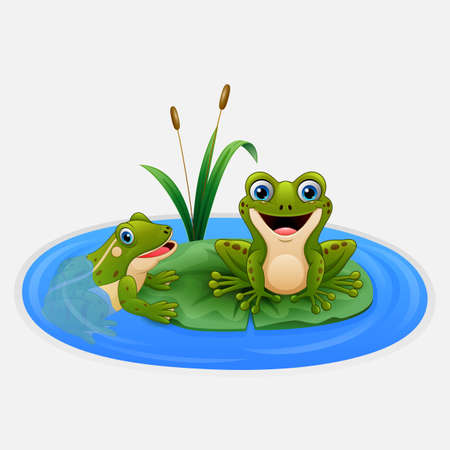 Vector illustration of Cute frogs on a leaf in the pond