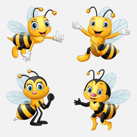 Vector illustration of Funny cartoon bee collection