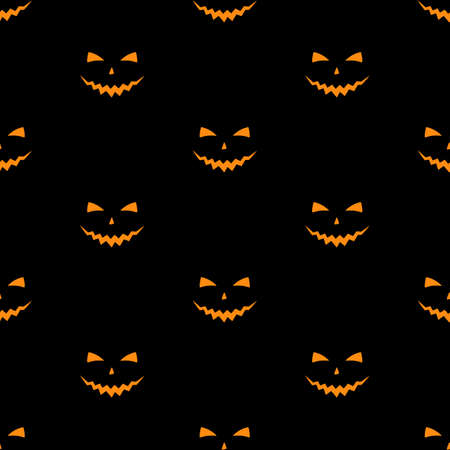Vector illustration of Set of scary faces Halloween pumpkins