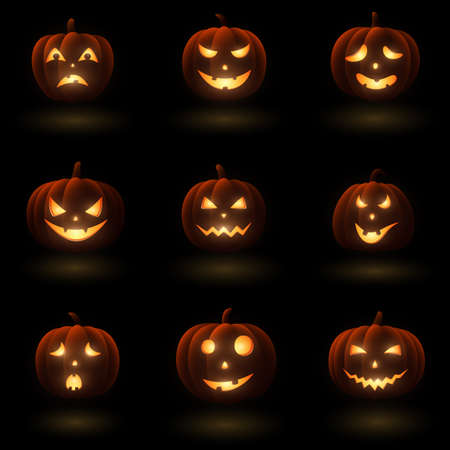 Vector illustration of Set of Halloween pumpkins with different faces Illustration