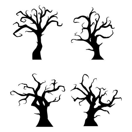Vector illustration of Black trees silhouette on white background