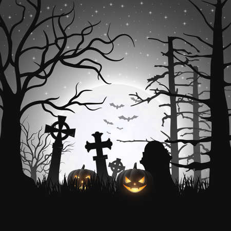 Vector illustration of Halloween background with pumpkins Иллюстрация