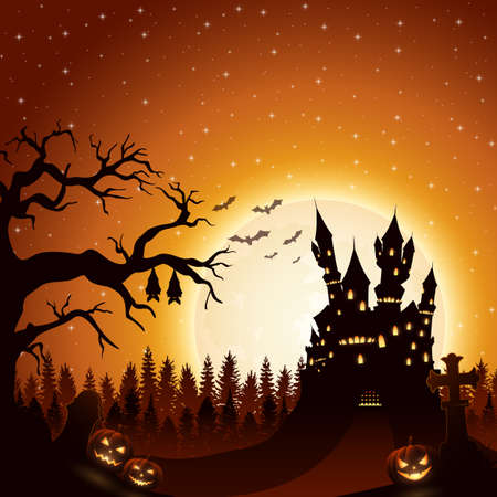 Vector illustration of Halloween night background with castle and pumpkins
