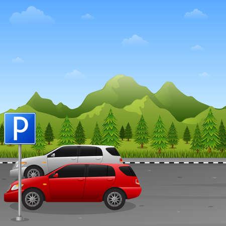 Gebirgslandschaft mit Parkzonenschild und zwei Autos Vektorgrafik
