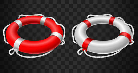 Life buoy icon red and white on black background