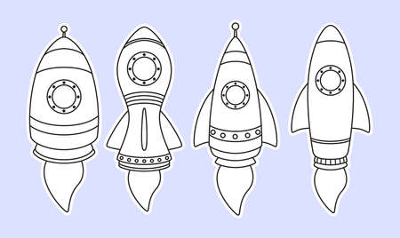 Vector illustration of Rocket ship icon set isolated on gray background