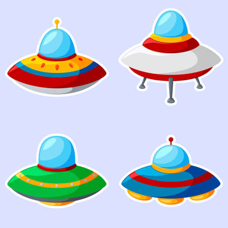 Conjunto de coloridas naves espaciales alienígenas aislado sobre fondo blanco.